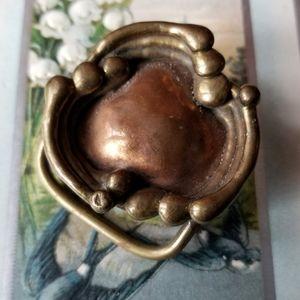 Vintage Brutalist belt buckle gold copper tone